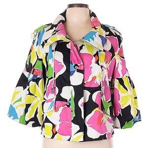 Cache trapeze 3/4 bubble sleeve floral jacket sz M